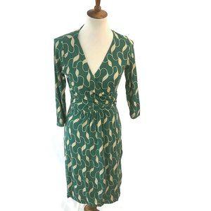 Boden Dress Size 8 R Green Tan Faux Wrap